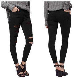 Black Topshop Jamie Moto Distressed Skinny Jeans
